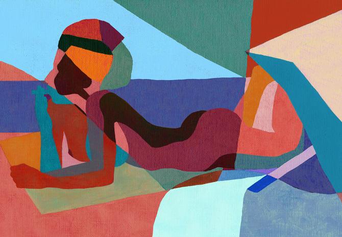 ines longevial women at the beach
